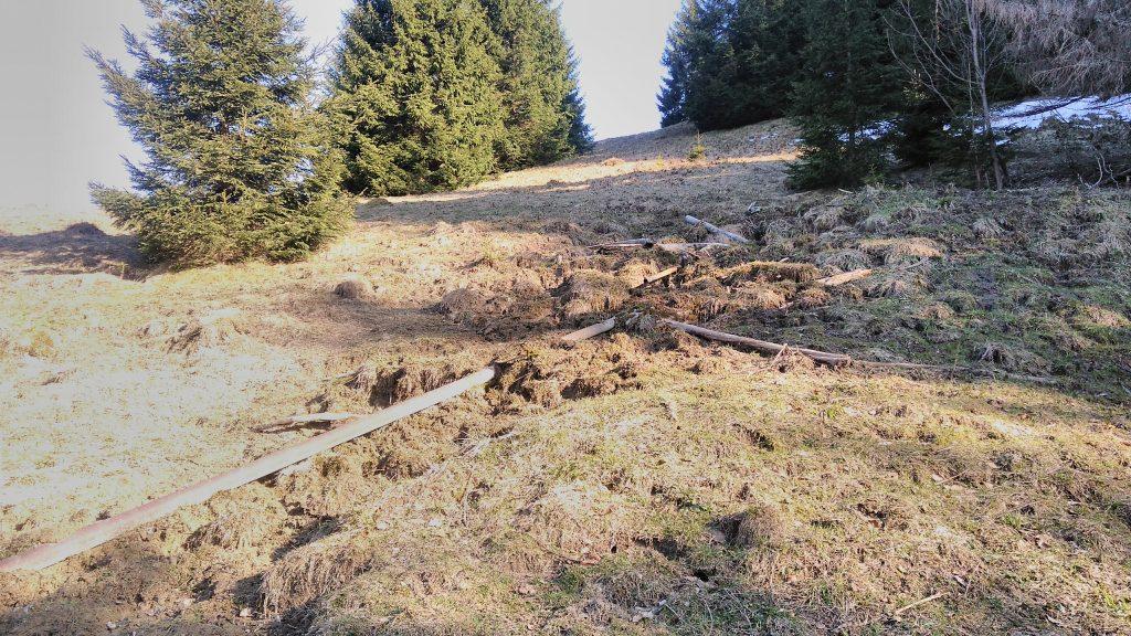 Brankovský salaš,zničené napajedlo
