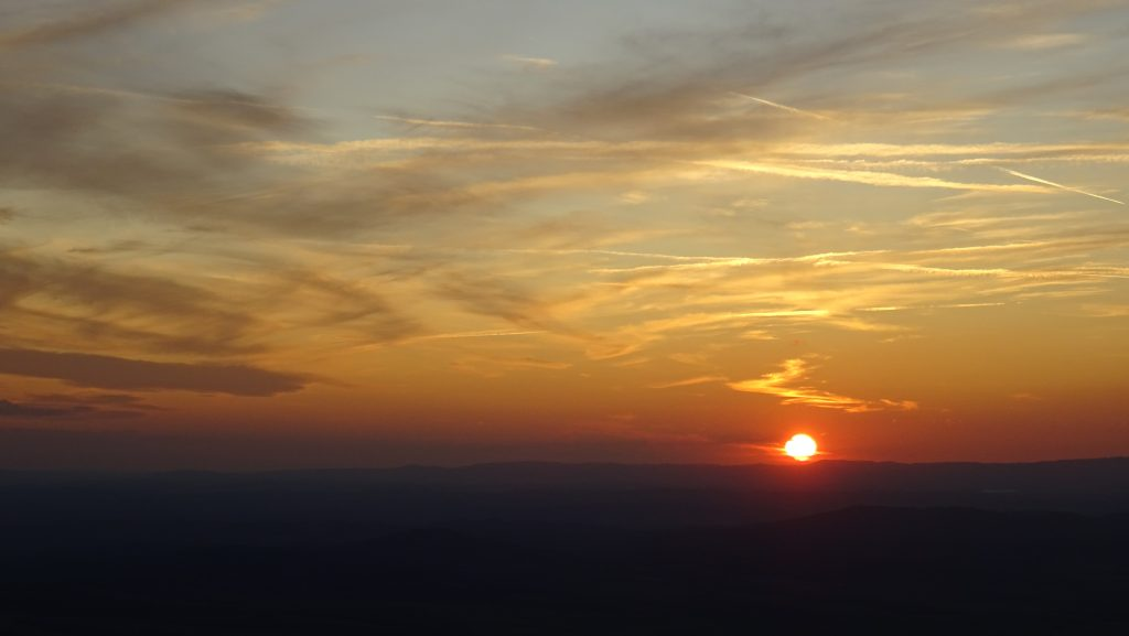 rozhledna Karanč,západ slunce